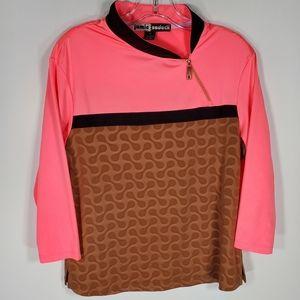 jamie sadock shirt 3/4 sleeve pink pattern M